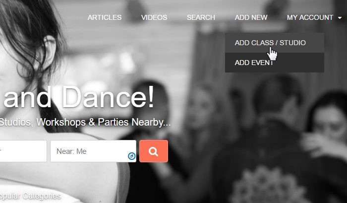 Add new dance studio, class, school and event, promote