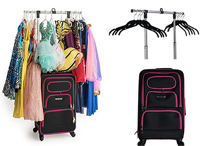 dance bag with garment rack and lots of costumes