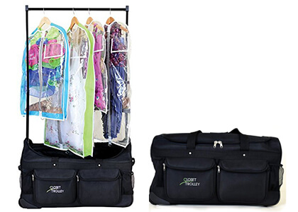 Dance bag with garment rack and costumes