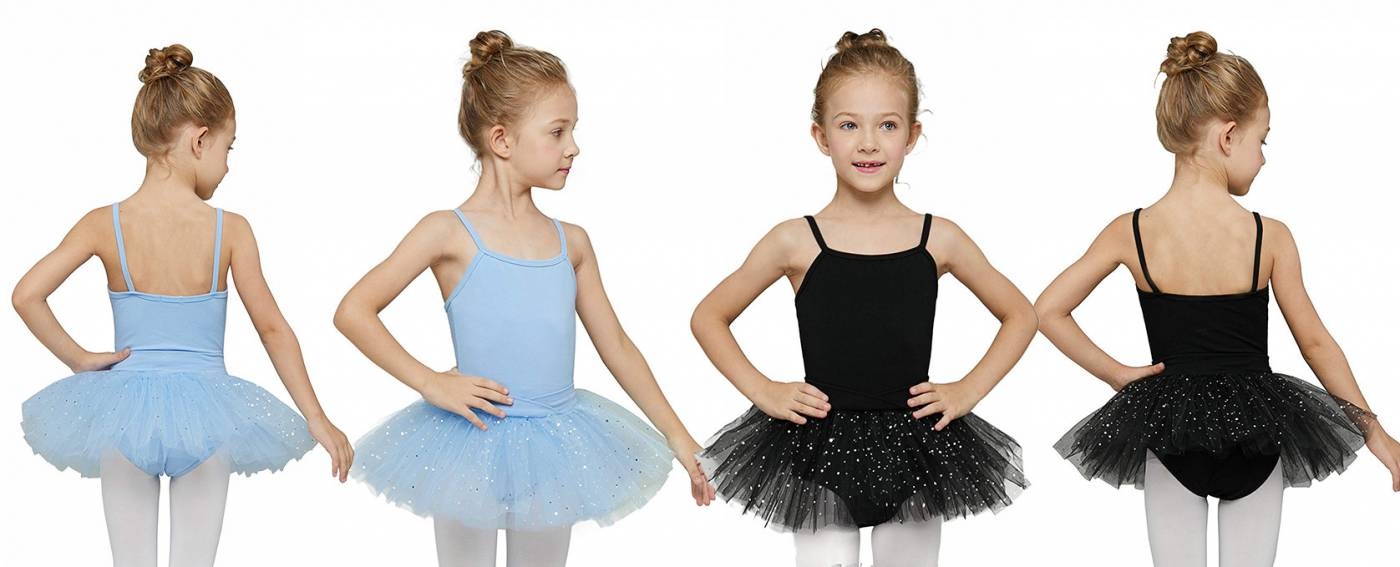 Four Girls dressed in White and Black Tutu Leotards
